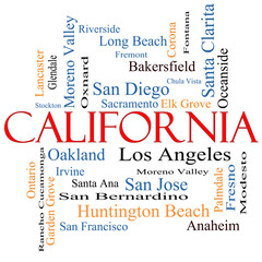 California State Word Cloud Concept