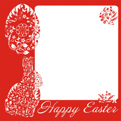 simple red frame with Easter bunny