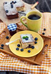 Piece of homemade blueberry cake
