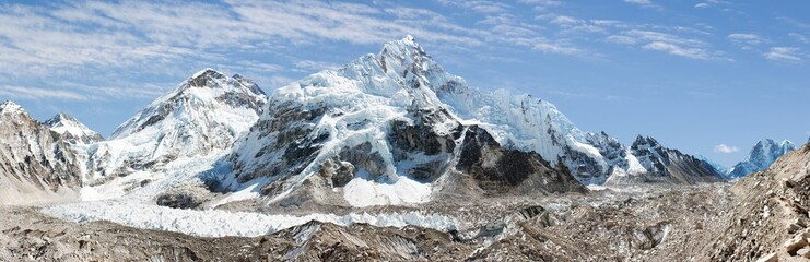 panoramic view of Everest, from everest b.c.