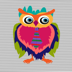 Cute Owl, cartoon drawing, cute illustration for children