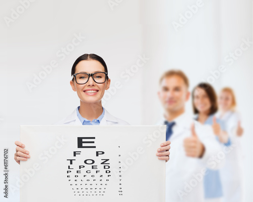 female doctor in eyeglasses with eye chart