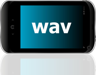 Web development concept: smartphone with word wav on display