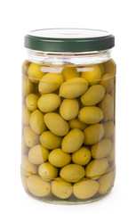 Green olives preserved in bank isolated on a white background