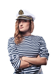 Sexy Woman in sea peak-cap and stripped vest. Captain