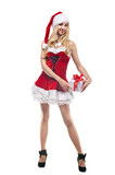 Beautiful woman in Santa Clause costume