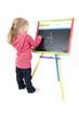 girl writes on a board