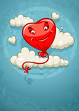 Red heart baloon flying among clouds retro card. Eps10 vector
