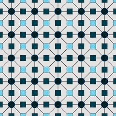 White and blue wallpaper with geometric figures