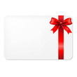 Red Bow And Blank Gift Tag - 61179513