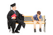 Mature college professor and a thoughtful kid seated on bench