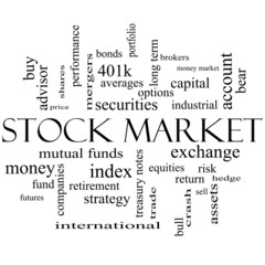 Stock Market Word Cloud Concept in black and white