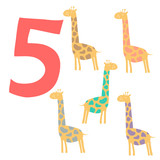 5 cute giraffes. Easy Learn to count figures.