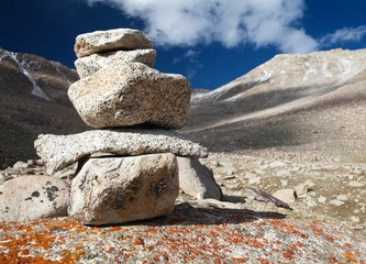 Stone man on mountains