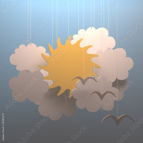 Sun cloud. Your text on clean space.