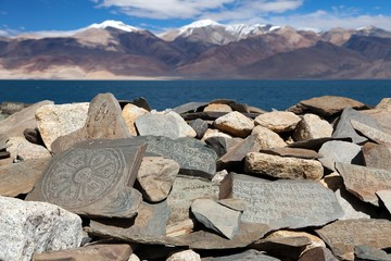 Mani wall and Tso Moriri lake - Rupshu valley - Ladakh - india