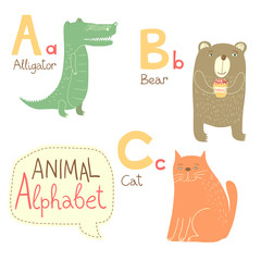 Cute zoo alphabet in vector. A, b, c letters.