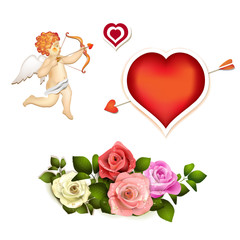 Roses, heart and cupid on white background