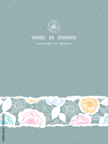 Vector silver and colors florals vertical torn seamless pattern