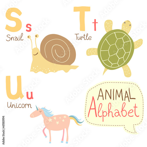 Cute zoo alphabet in vector with animals. S, t, u letters.
