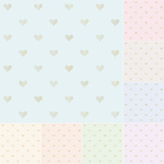 seamless heart pattern with gold gradient