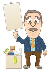 Businessman needs a job and holding a blankboard