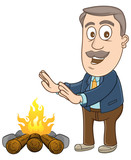 Businessman standing in front of campfire to get warm
