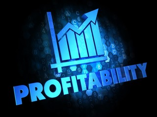 Profitability Concept on Dark Digital Background.