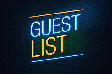 Guest list exclusive club concept neon sign