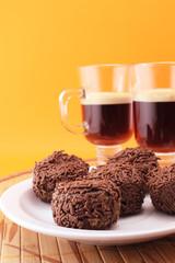 Chocolate truffles and coffe