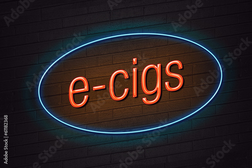 E-cigarette concept neon sign