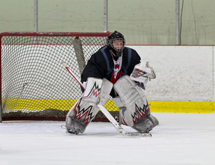 Hockey goaltender ready to make a save