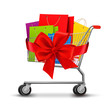 Shopping cart full of shopping bags and a gift bow. Concept of d