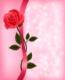 Holiday background with red rose and ribbon. Valentines Day. Vec