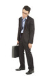 overwork and exhausted businessman holding briefcase