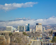 City of Boise Idaho with clearing fog in the foothills