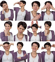 Woman with short hair - grimacing