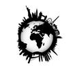 International Skyline with world Globe