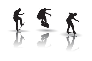 Vector of skateboarders in silhouettes
