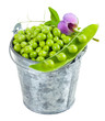 Pod of green peas isolated on white background.