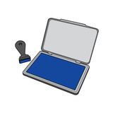 ink pad with rubber stamp vector