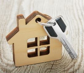 Key with wooden house on desk