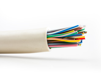 Electric cable on white background.