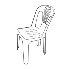 plastic chair outline vector