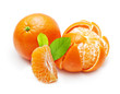 Mandarin, tangerine, orange citrus fruit isolated on white