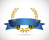 gold laurel and blue ribbon. illustration design