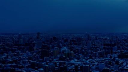 冬の札幌市・夜明け(インターバル動画)