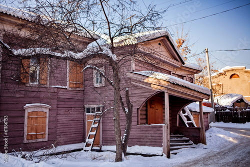 Old wooden house in the Irkutsk city