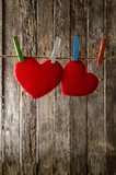 Cute big red heart hanging on the clothesline