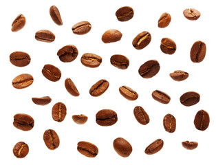 Falling black coffee grain, bean on white background